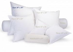 Различные размеры подушек